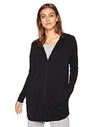 Natori Womens Brushed Jersey Jacket, Black, L