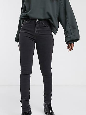 Weekday Thursday - Enge Jeans mit hohem Bund aus Bio-Baumwolle in Schwarz