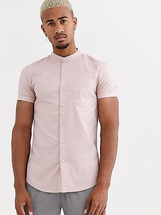 Topman short sleeve oxford shirt in pink