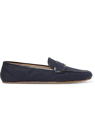 Gabriela Hearst Brodie Leather-trimmed Linen Loafers - Navy