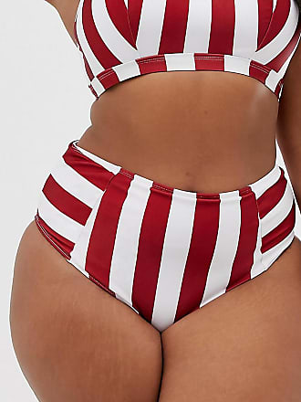 3749cee4267d6 Wolf & Whistle Curve Exclusive Eco stripe high waist bikini bottom in red &  white -
