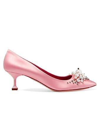 0eab85754ba6 Miu Miu Embellished Satin Pumps - Baby pink