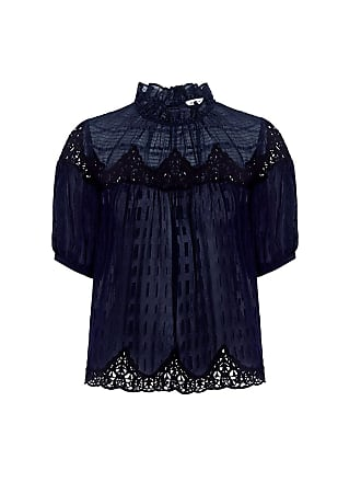 Rebecca Taylor High Neck Lace Blouse Navy
