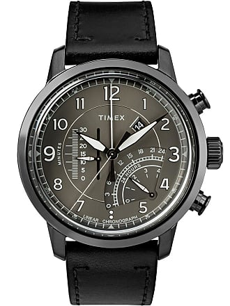 Timex Watch Mens Waterbury Linear Chronograph 45MM Leather Strap Gray Item Tw2R69000Vq