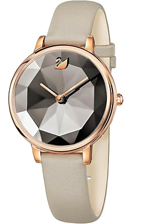 Swarovski Crystal Lake Watch, Leather strap, Gray, Rose gold tone