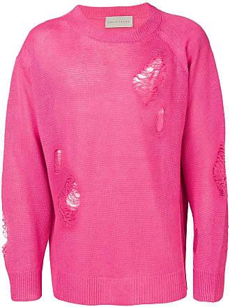 Paura Suéter mangas longas com detalhes puídos - Rosa