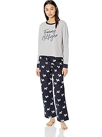 9b054421 Tommy Hilfiger Womens Top and Flannel Pant Bottom Pajama Set Pj, Heather  Grey with Logo