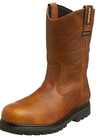 CAT Mens Edgework Pull-On Waterproof Steel Boot,Mahogany,9 M US