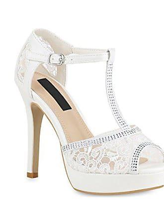 ee1d90373c90a9 Stiefelparadies Damen Schuhe Plateau Sandaletten Spitzenstoff Stiletto High  Heels Strass 154318 Weiss 40 Flandell