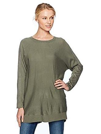 Love Scarlett Womens Long Sleeve Zip Back Tunic Sweater, Olive, Large
