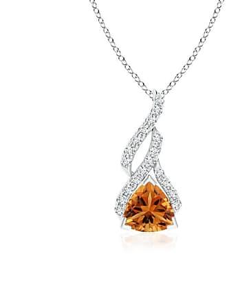 Angara Valentine Day Sale - Trillion Citrine Solitaire Pendant with Diamond Swirl