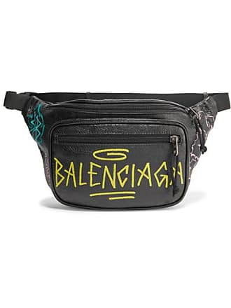 Balenciaga Explorer Graffiti Printed Textured-leather Belt Bag - Black