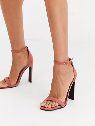 Missguided barely there heeled sandals with square toe in terracotta-Orange