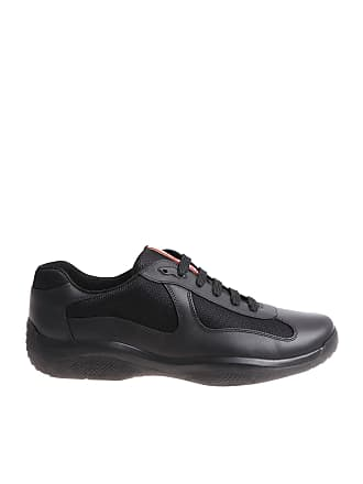 Prada Black leather and fabric sneakers 4cf81f444018