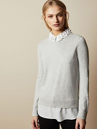 Ted Baker Floral Collar Mockable Jumper in Grey NANSEA, Womens Clothing