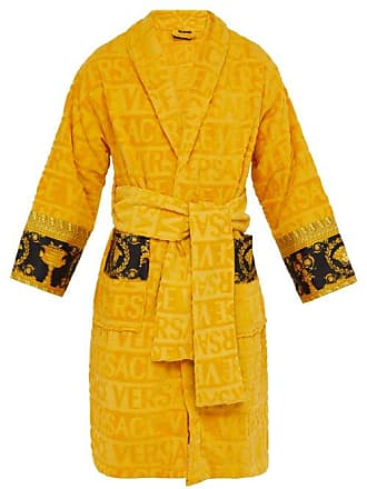Versace I Love Baroque Logo Jacquard Cotton Bathrobe - Mens - Gold