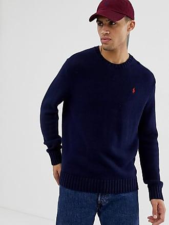 e20140f7ff0 Polo Ralph Lauren Jersey azul marino de punto grueso de algodón con cuello  redondo de Polo
