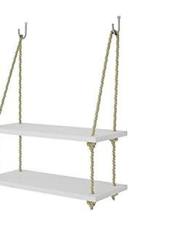 Manhattan Comfort Uptown Collection Contemporary Reclaimed Wooden Pine Two Swing Shelves With Rope String, White/Yellow Rope