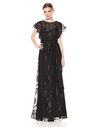 33dc8e8765d4 Adrianna Papell Womens Long Chiffon Dress with Illusion Neckline and Draped  Skirt, Black 8