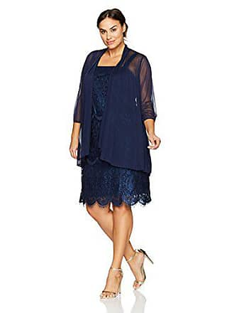 67c6fccee6814 R M Richards Womens Plus Size Two Piece Mesh and Lace Jacket Dress Large