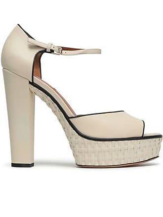 a149fc75a1f1 Valentino Valentino Garavani Woman Leather And Raffia Sandals Ivory Size  36.5