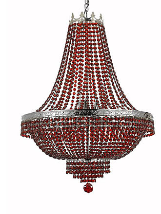 Gallery T22-2258 9 Light 24 Wide Crystal Empire Chandelier with Red