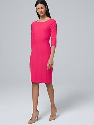 White House Black Market Womens Body Perfecting Split-Sleeve Sheath Dress by White House Black Market, Bright Rose, Size 14
