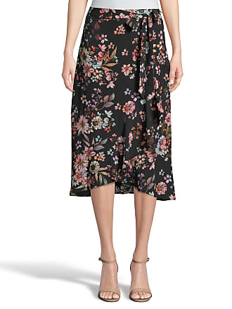 5twelve Floral Ruffle Tie Wrap Midi Skirt