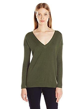 Minkpink Womens Fingers Crossed Back V Neck Sweater, Khaki Small