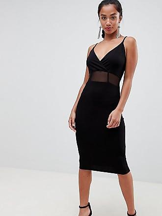 045cfeb7fa Asos Petite ASOS DESIGN Petite midi cami bodycon dress with mesh insert  detail - Black