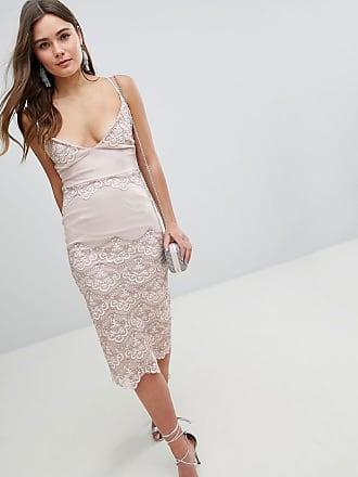Asos ASOS Delicate Placement Lace Cami Midi Pencil Dress - Cream