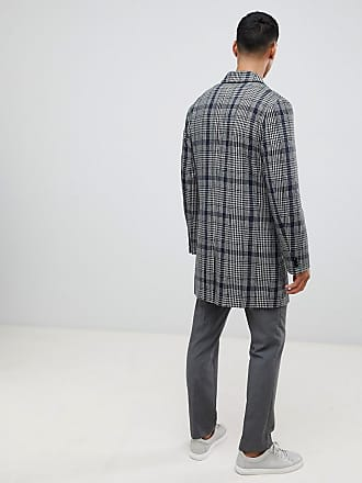 200adaf328b88 Moss Bros. Moss London overcoat with prince of wales check in grey - Grey