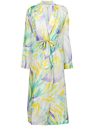 Forte_Forte abstract print belted coat - Green