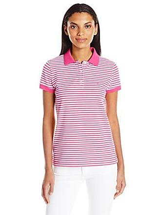 aef43e8ad Nautica Womens Short Sleeve Stretch Stripe Polo Shirt, Sunset Pink, Small