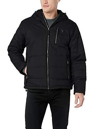 U.S.Polo Association Mens Hooded Puffer Jacket, Black, 3X