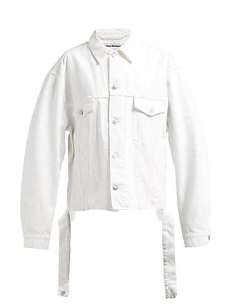 1d50dfda0d6 Balenciaga Distressed Logo Embroidered Denim Jacket - Womens - White