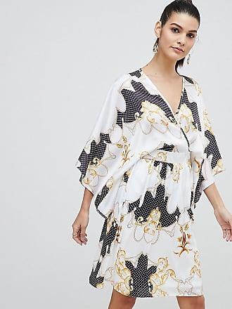 Flounce London Kimono midiklänning i satin med omlott framtill b8dc13d2214a6