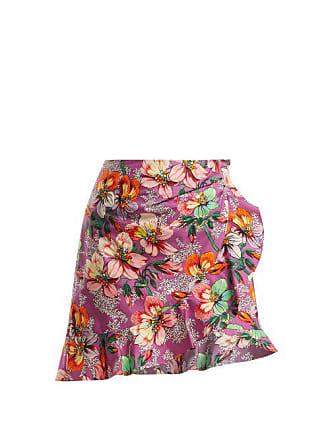 783e67e3cfda0 Isabel Marant Mouna Floral Print Ruffle Trimmed Mini Skirt - Womens -  Purple Multi
