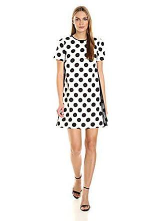 Tahari by ASL Womens Short Sleeve Polka Dot Dress, Ivory/Black, 14