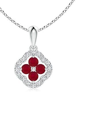 Angara Valentine Day Sale - Diamond Framed Ruby Clover Pendant
