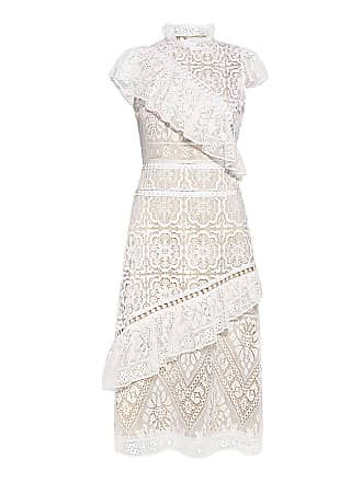 9cb8073e2bf5 Sea New York Awry Lace Ruffle Midi Dress White