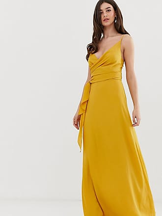 66eb72407705 Asos Tall ASOS DESIGN Tall cami wrap maxi dress with tie waist - Yellow