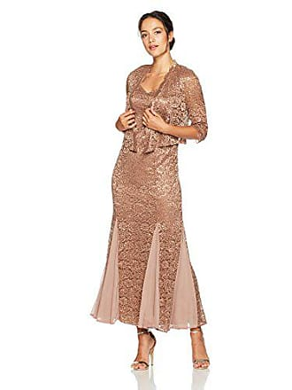 c9c54277bc1 R&M Richards Womens Petite Size 2 Piece Long Metalic lace Jacket Dress,  Cocoa 6P