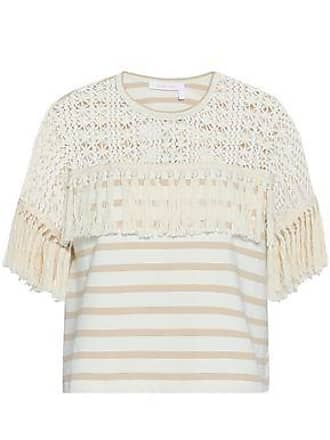 See By Chloé See By Chloé Woman Tasseled Crochet-paneled Striped Cotton-jersey Top Beige Size XS