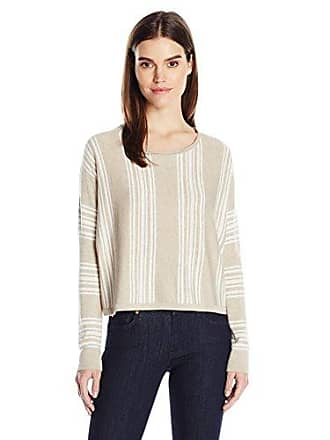 Splendid Womens Crewneck Long Sleeve Pullover Sweater Sweatshirt, Heather Oatmeal/Natural, Small