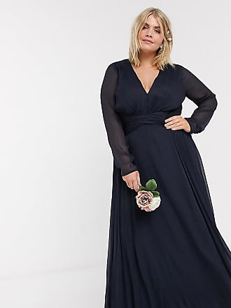 Asos Curve ASOS DESIGN Curve Bridesmaid ruched waist maxi dress with long sleeves and pleat skirt-Navy