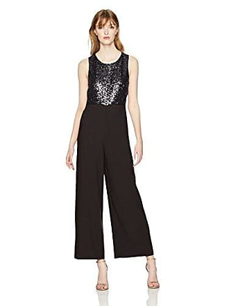 Kensie Womens Crepe Jumpsuit with Sequin Bodice, Black, XL