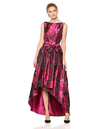 Tahari by ASL Womens High Low Dress with Floral Pattern and Bow On Waist, Magenta/Lipstick, 2