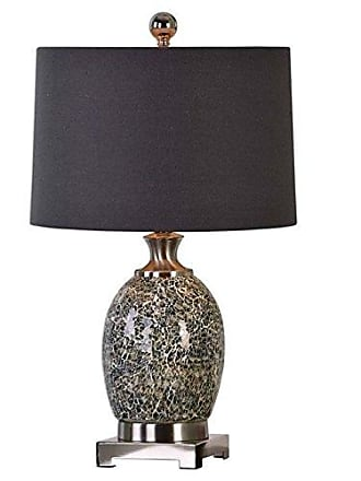 Uttermost 27161-1 Madon Crackled Glass Table Lamp, Taupe Gray