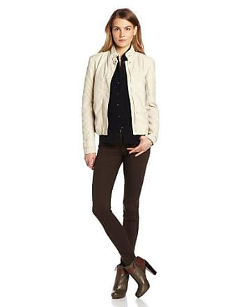 Kensie Womens Faux-Leather Knit Sleeves Jacket, Ivory Small
